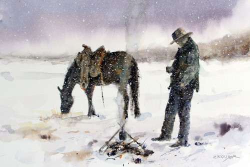 'WARMIN' UP' western wildlife art from an original painting by Dean Crouser. Available in a variety of products including signed and numbered limited edition prints, ceramic tiles and coasters, greeting cards and more.