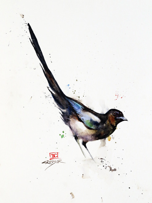 """MAGPIE"" original watercolor bird painting by Dean Crouser. This original painting measures approximately 9"" wide by 12"" tall. Professionally packaged for safe shipping.  Here's a great opportunity to own a DC original!  Artist retains any and all rights to future use of this image.  Copyright Dean Crouser©  Thanks for looking!"