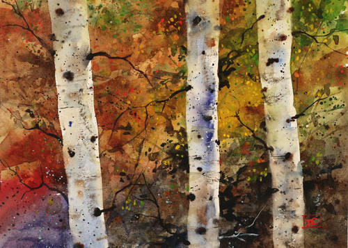 """""""AUTUMN TREES"""" 5 x 7"""" greeting cards. Blank inside, white envelope included. Individually packaged in protective clear flap-sealed bag."""