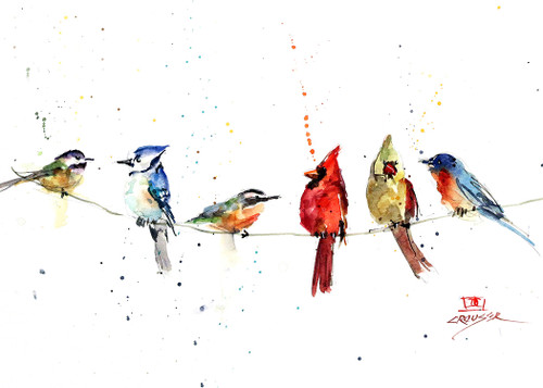 """BIRDS ON A WIRE"" 5 x 7"" greeting cards. Blank inside, white envelope included. Individually packaged in protective clear flap-sealed bag. Quantity discounts."