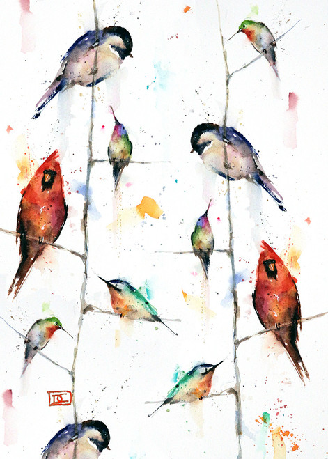 """BIRDS ON BRANCHES"" 5 x 7"" greeting cards. Blank inside, white envelope included. Individually packaged in protective clear flap-sealed bag. Quantity discounts."