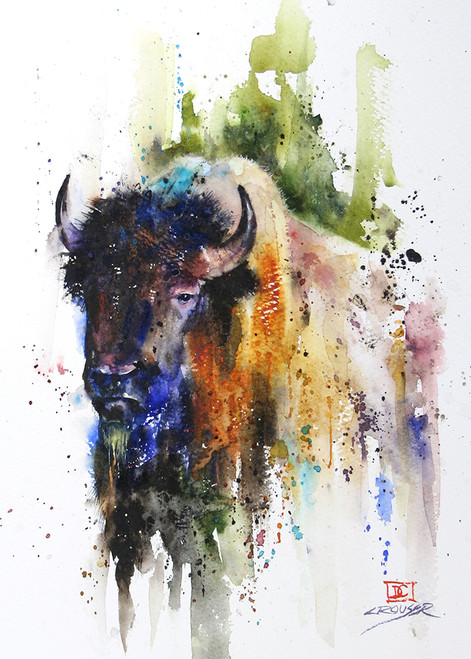 """""""BUFFALO"""" 5 x 7"""" greeting cards. Blank inside, white envelope included. Individually packaged in protective clear flap-sealed bag. Quantity discounts."""