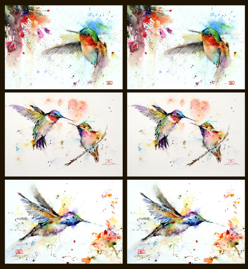 "Mixed set of 6 of Dean's best-selling 5 x 7"" hummingbird cards. You will receive (2) each of Jewell (top row), Lovebirds (middle), and Little Guy (bottom). Each 5 x 7"" card is blank inside, white envelope included and individually sealed in clear seal bag. Buy additional sets and save!"