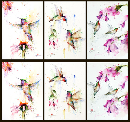 "Mixed set of 6 of Dean's best-selling 5 x 7"" hummingbird cards. You will receive (2) each of Pee Wee (left row), Meeting Place (middle), and Hummingbird Floral (right). Each 5 x 7"" card is blank inside, white envelope included and individually sealed in clear seal bag. Buy additional sets and save!"