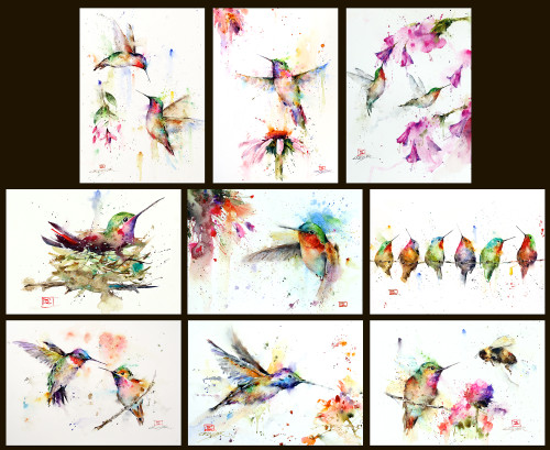 Set of 9 different 5 x 7 greeting cards of Dean's best selling hummingbird images. You will receive one each of the cards listed in photo. Each card is blank inside, white envelope included and packaged in protective clear bag. Buy more and save - purchase additional sets at a discount.