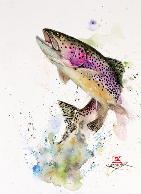 """JUMPING RAINBOW"" original watercolor trout painting. This original painting measures approximately 7-1/2"" wide by 10-1/2"" tall. Professionally packaged for safe shipping. Artist retains any and all rights to future use of this image. Thanks for looking!"