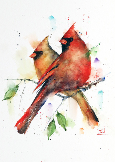 """CARDINAL PAIR"" 5 x 7"" greeting cards. Blank inside, white envelope included. Individually packaged in protective clear flap-sealed bag. Quantity discounts."