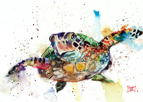 """SEA TURTLE"" 5 x 7"" greeting cards. Blank inside, white envelope included. Individually packaged in protective clear flap-sealed bag. Quantity discounts."