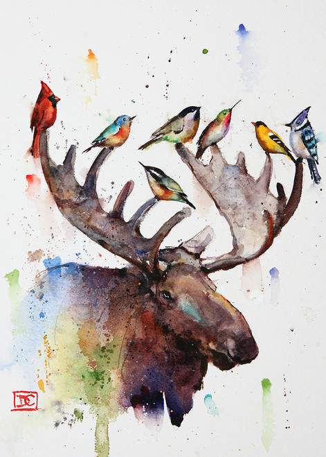 """BIRDS of a FEATHER"" 5 x 7"" moose greeting cards. Blank inside, white envelope included. Individually packaged in protective clear flap-sealed bag. Quantity discounts."
