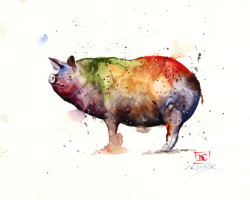 'PIG' art from an original animal watercolor painting by Dean Crouser. Available in a variety of formats including limited edition signed and numbered prints, ceramic tiles and coasters, greeting cards and more.
