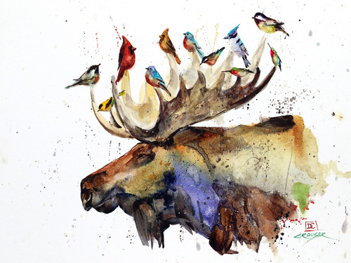 """MOOSE and BIRDS"" wildlife art available in a variety of products including limited edition signed and numbered prints, ceramic tiles and c coasters, greeting cards and more."