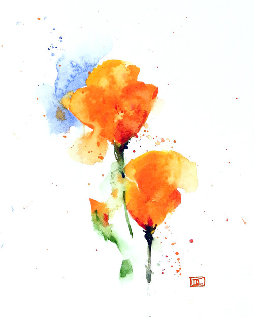 """""""California Poppies"""" flower art available in a variety of products including limited edition signed and numbered prints, ceramic tiles and c coasters, greeting cards and more."""