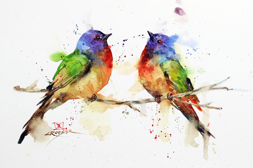'BUNTING PAIR' watercolor bird art available in a variety of products including signed and numbered limited edition prints, ceramic tiles and coasters, greeting cards and more.