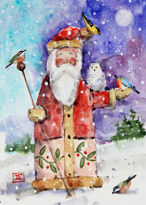 """SANTA & BIRDS"" 5 x 7"" holiday greeting cards. Blank inside, white envelope included. Individually packaged in protective clear flap-sealed bag. Quantity discounts."