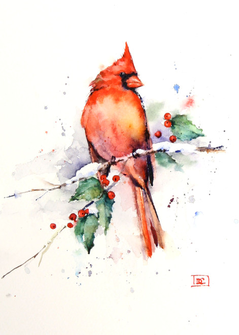 """""""CARDINAL & HOLLY"""" 5 x 7"""" holiday greeting cards. Blank inside, white envelope included. Individually packaged in protective clear flap-sealed bag. Quantity discounts."""