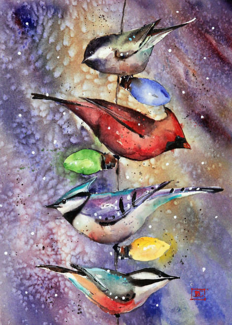 """SONGBIRDS & LIGHTS"" 5 x 7"" holiday greeting cards. Blank inside, white envelope included. Individually packaged in protective clear flap-sealed bag. Quantity discounts."