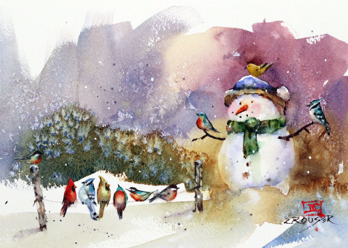 """SNOWMAN & SONGBIRDS"" 5 x 7"" holiday greeting cards. Blank inside, white envelope included. Individually packaged in protective clear flap-sealed bag. Quantity discounts."