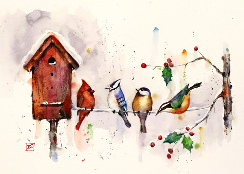 """""""WINTER BIRDHOUSE"""" 5 x 7"""" holiday greeting cards. Blank inside, white envelope included. Individually packaged in protective clear flap-sealed bag. Quantity discounts."""