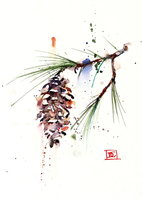"""""""WHITE PINE CONE"""" 5 x 7"""" holiday greeting cards. Blank inside, white envelope included. Individually packaged in protective clear flap-sealed bag. Quantity discounts."""