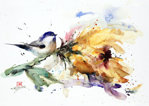 """CHICKADEE and SUNFLOWER"" 5 x 7"" greeting cards. Blank inside, white envelope included. Individually packaged in protective clear flap-sealed bag. Quantity discounts."