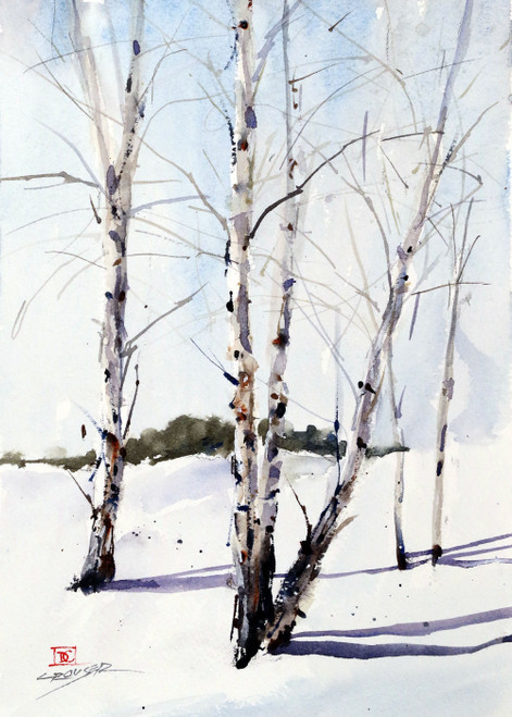 """BIRCH TREES"" 5 x 7"" greeting cards. Blank inside, white envelope included. Individually packaged in protective clear flap-sealed bag. Quantity discounts."