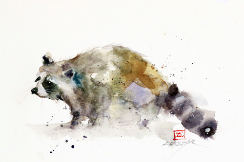 """'RACCOON"""" art from an original watercolor painting by Dean Crouser. Available in a variety of formats including limited edition signed and numbered prints, ceramic tiles and coasters, greeting cards and more."""