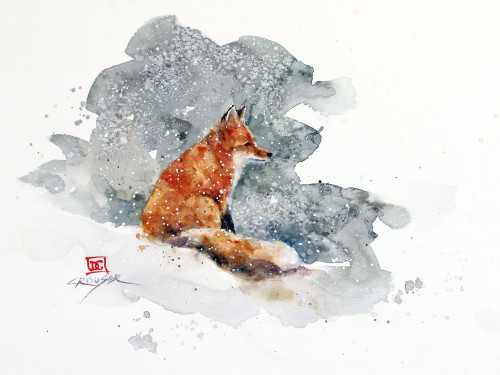 "'SCOUT"" art from an original fox watercolor painting by Dean Crouser. Available in a variety of formats including limited edition signed and numbered prints, ceramic tiles and coasters, greeting cards and more."