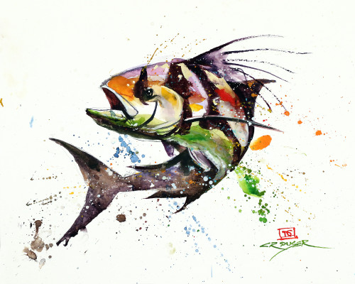 """""""ROOSTERFISH!"""" art from an original watercolor painting by Dean Crouser. Available in a variety of products including signed and numbered limited edition prints, ceramic tiles and coasters, greeting cards and more."""