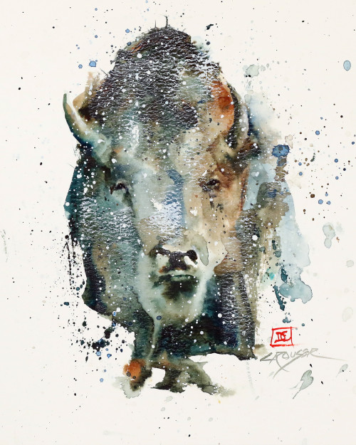 """FROZEN STARE"" buffalo art from an original bison watercolor painting by Dean Crouser. Available in a variety of products including signed and numbered limited edition prints, ceramic tiles and coasters and more."