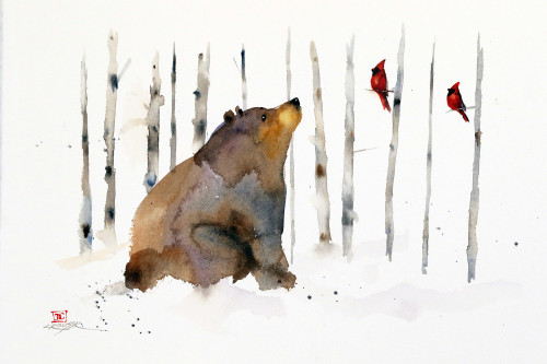 """BEAR, BIRCH & BIRDS"" art from an original watercolor painting by Dean Crouser. Available in a variety of products including limited edition signed and numbered prints, ceramic tiles and coasters, greeting cards and more."