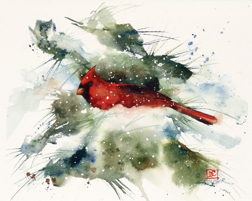 'CARDINAL IN SNOW' art from an original watercolor painting by Dean Crouser. Available in a variety of p[roducts including signed and numbered limited edition prints, ceramic tiles and coasters, greeting cards and more.