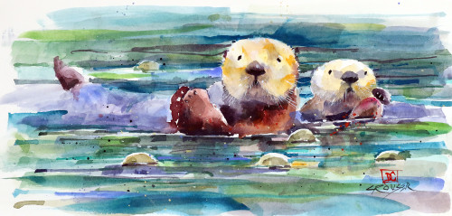 'OTTER PAIR' wildlife art from an original watercolor painting by Dean Crouser. Available in a variety of products including limited edition signed and numbered prints, ceramic tiles and coasters, greeting cards and more.