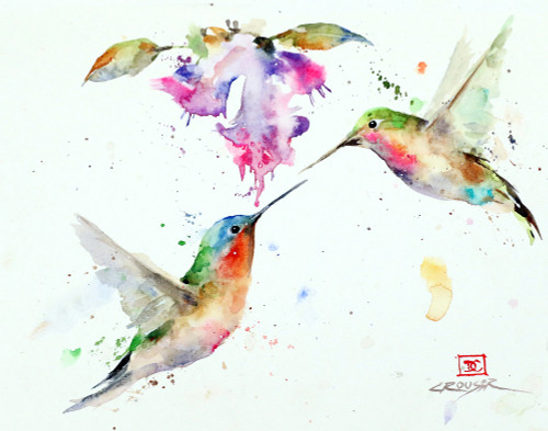 'The SWEETHEARTS' hummingbird art from an original watercolor painting by Dean Crouser. Available in a variety of products including limited edition signed and numbered prints, ceramic tiles and coasters, greeting cards and more.