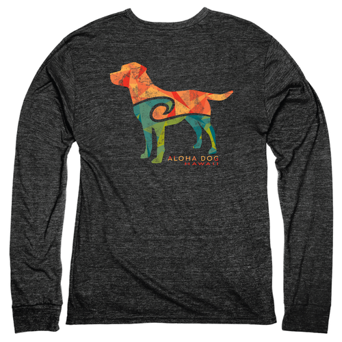 Aloha Dog Long Sleeve Triblend Tee in black with full back dog design.