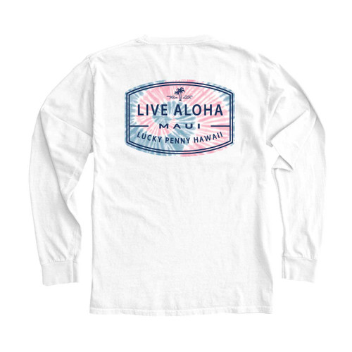 Fratello Lucky Penny Hawaii Tie Dye Long Sleeve-White