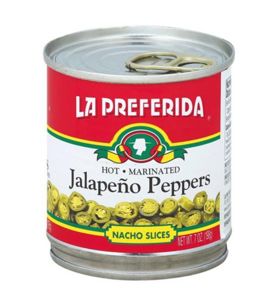 JALAPENO PEPPERS, HOT, marinated, 7 oz