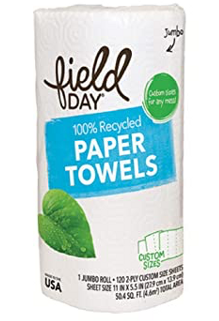 PAPER TOWEL, 1 JUMBO ROLL, 100% recycled, FieldDay, 120/2 ply sheets