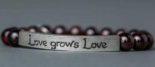 """BRACELET, Garnet Stone. """"Love grows Love"""", Iamtra"""