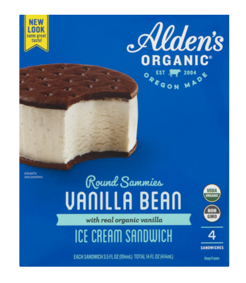 ICE CREAM SANDWICHES,  VANILLA,  Organic, ALDEN'S,   4/ 3.5 oz