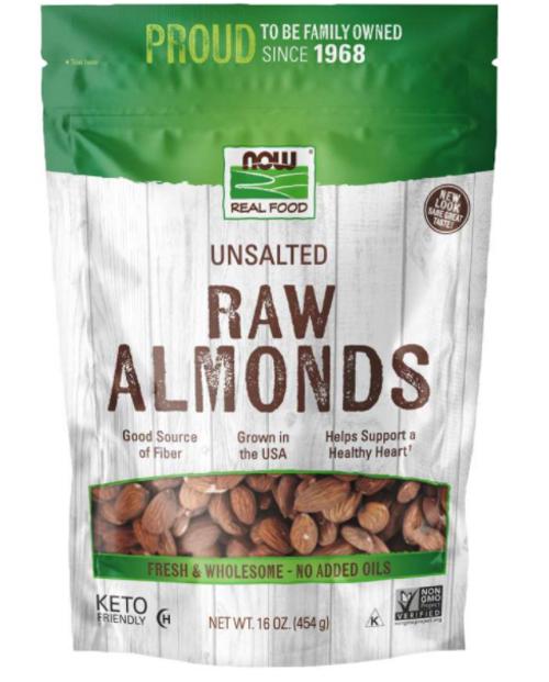 ALMONDS, RAW UNSALTED, NOW Foods, 16 oz