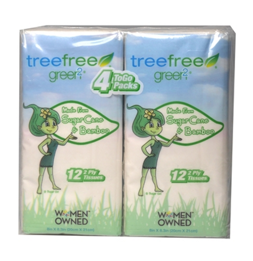 FACIAL TISSUE 4 TO GO PACKS, TREE FREE