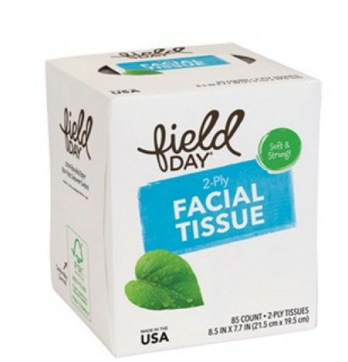 FACIAL TISSUE, 100% recycled, FIELD DAY,  85 COUNT