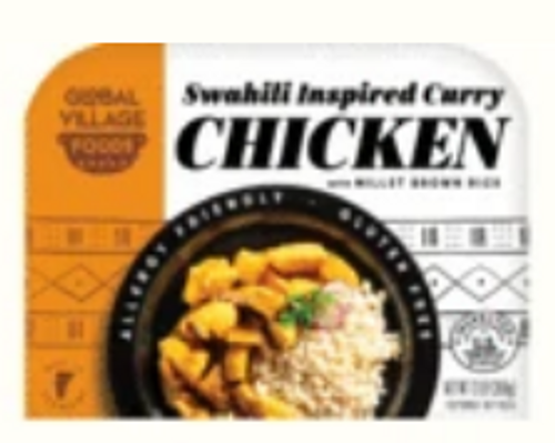 *SALE * DINNER, SWAHILI CURRY CHICKEN with MILLET-BROWN RICE, Global Village Cuisine, 13 oz