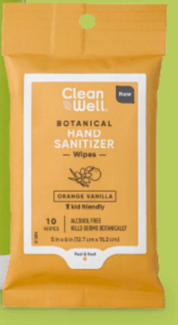 HAND SANITIZER WIPES, Orange Vanilla, 10 count