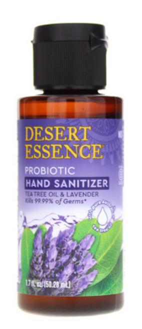 HAND SANITIZER, PROBIOTIC TEA TREE & LAVENDER, Desert Essence, 1.7 fl oz