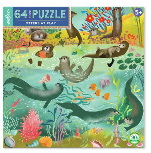 PUZZLE, Otters At Play, Eeboo, 64 piece