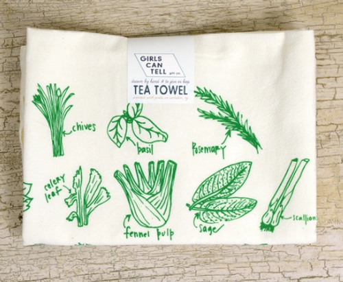 TEA TOWEL, GREEN HERBS - each