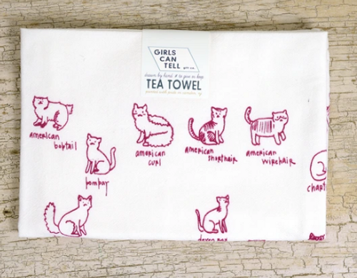 TEA TOWEL, CATS- each
