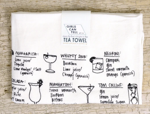 TEA TOWEL, Cocktail Recipes - each