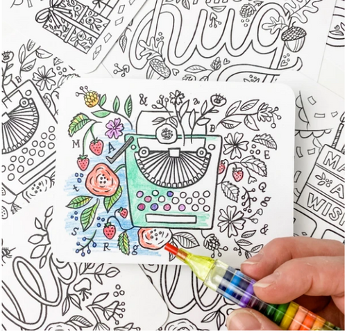 POSTCARD KIT, Color-in, Inklings - Box of 12